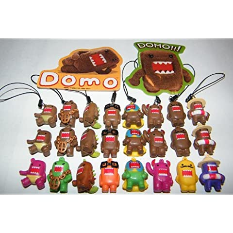 Domo Figure Charm Mega Set of 24 with Classic Brown, Colored and Fun Dangler Figures by Domo Dun