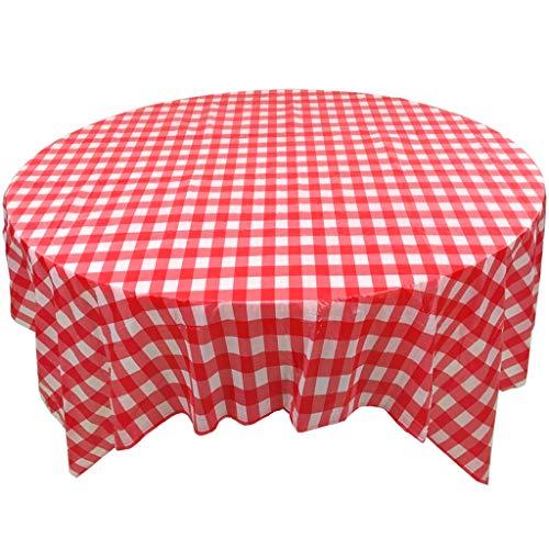 toff Tischdecke,Gitter Grillmöglichkeiten Tischdecke,In ihrem zuhause Runder Tisch Rot & weiß Gingham Schachbrett Tischtuch tischwäsche-Rot (10 Stück) 135 * 135cm ()