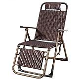 BGAOYUHUA Tragbare Einzellehnsessel Klappstuhl, Zero Gravity Lounge Chair Recliners mit Kopfstütze, Künstliche Rattan Weben Lounge Chair