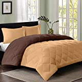 Reversible AC Single Bed Comforter/Blanket/Quilt/Duvet For Winters- Light Brown & Dark Brown-By Cloth Fusion