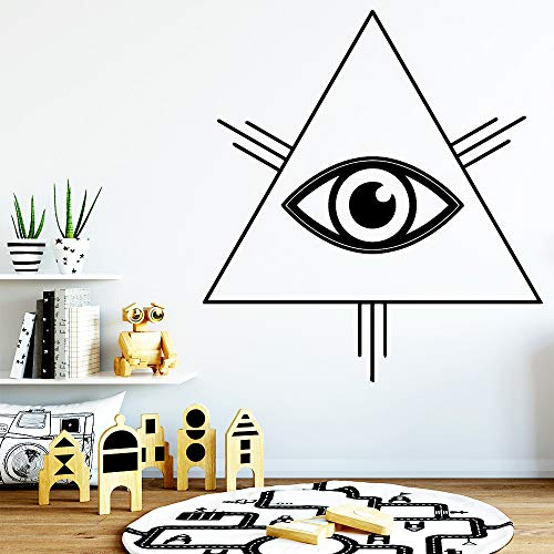 yiyiyaya Cartoon Stil Trangle Eye Wandaufkleber Vinyl Kunst Dekoration Für Wohnzimmer Schlafzimmer Haus Party Decor Tapete grau M 30 cm X 32 cm -