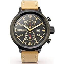 Chotovelli Big Pilot Men's Watch Chronograph Analogue Display Beige Leather Strap 747.13