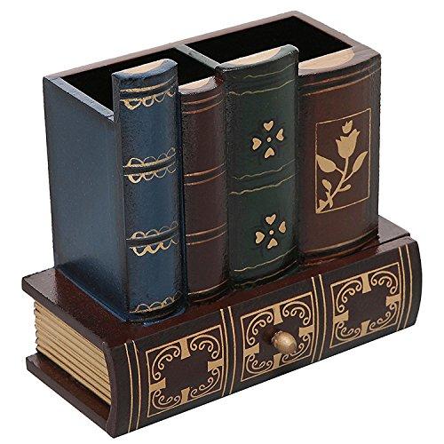 Mygift decorative biblioteca di design in legno portaoggetti portapenne organizer con cassetto inferiore