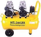 WELDINGER Flüsterkompressor FK 120 Ansaugleistung 120 l/ min 50 Liter Tank - leiser und ölfreier Druckluftkompressor (48 dB)