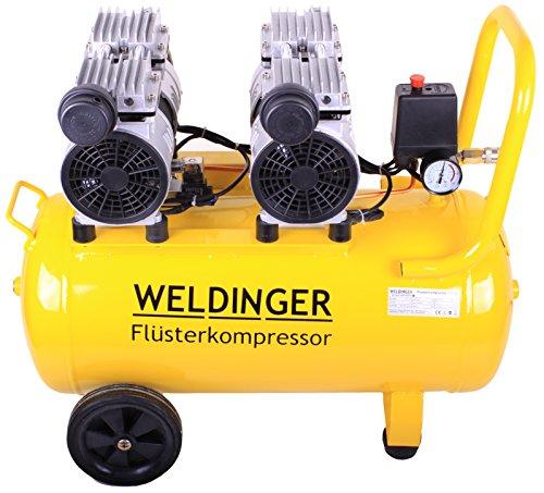 Preisvergleich Produktbild WELDINGER Flüsterkompressor FK 180 Ansaugleistung 120 l/ min 50 Liter Tank Druckluftkompressor ölfrei leise (60 dB)