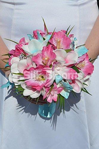 Aqua-Tropical-y-fucsia-Kathryn-pledger-Plumeria-artificial-orqudea-Dendrobium-y-hibisco-ramo-de-la-dama-de-honor