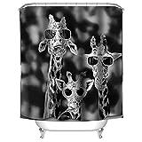 QEES Duschvorhang mit Bildern von Hund Katze Wolf Haustier Künstlerische Bilder Wasserdichter Duschvorhang aus Stoff Anti-Schimmel Textilien Wasserabweisend YLB02 (Brille Giraffe-L)