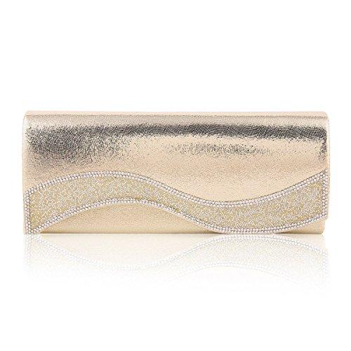 Damara® Damen Einfarbige Glattleder Kettentasche Mit Crystal Gold