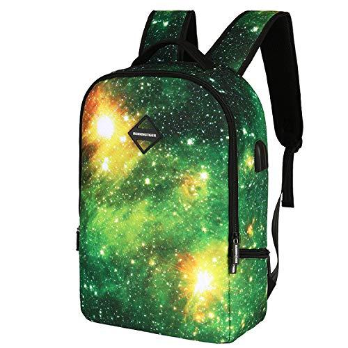 MFHSB Galaxy Backpack, Fashion Laptop Rucksack Rucksack Tablet PC-Tasche Leinwand Leinwand Rucksack Notebook Laptop-Tasche mit USB Charging Port Rucksack,A