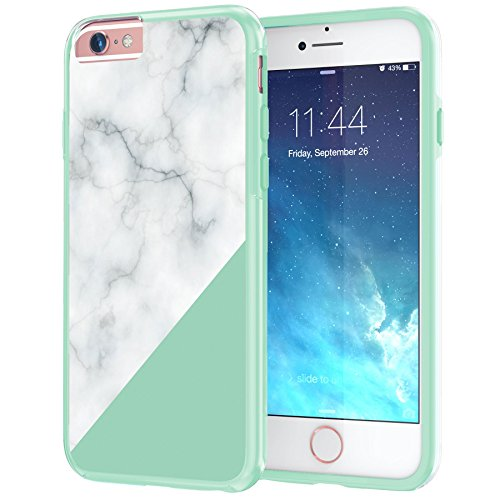 "iPhone 6 6s langlebige Schutzhülle Cover / Case / Hülle / Fall, True Color® Weißer Marmor [Kollektion Stein-Textur] Slim Hybrid Hartschale + Soft-TPU-Bumper 6 / 6s 4.7"" [True Protect Serie] Mint Green Bottom"