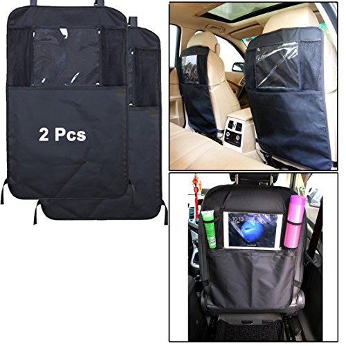 WSS-2schwarz Kick Mats Auto Sitz Polster Displayschutzfolie Organizer Taschen Universal Größe schwere Pflicht Kick und Fleckschutz-iPad Tasche Halter