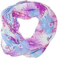 ManuMar Loop-Schal für Damen | feines Hals-Tuch mit Blumen-Motiv | Schlauch-Schal - Das ideale Geschenk für Frauen