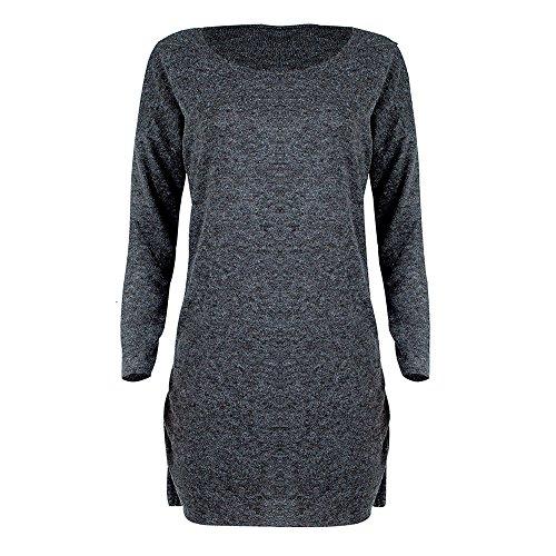 IMJONO Rock Fashion Women Solid O-Neck Sweater Long Shirt Casual Long Sleeve Pullove Dress(Large,Grau-A)