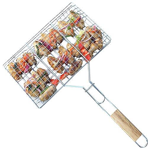InBlossoms Filete de pescado a la parrilla de acero inoxidable con mango Parrilla de verduras de alimentos...