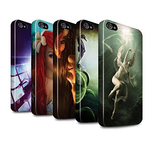 Officiel Elena Dudina Coque / Brillant Robuste Antichoc Etui pour Apple iPhone 4/4S / Sous-Marin Design / Agua de Vida Collection Pack 7pcs