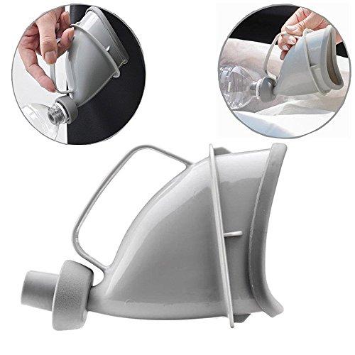 QCKJ Portable orinatoio per uomini e donne, riutilizzabile portatile imbuto Toliet pee viaggio bottiglia per outdoor campeggio emergenza seduti o in piedi (grigio)