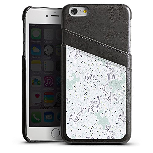 Apple iPhone 5s Housse Étui Protection Coque Motif Motif Guirlandes de fleurs Étui en cuir gris