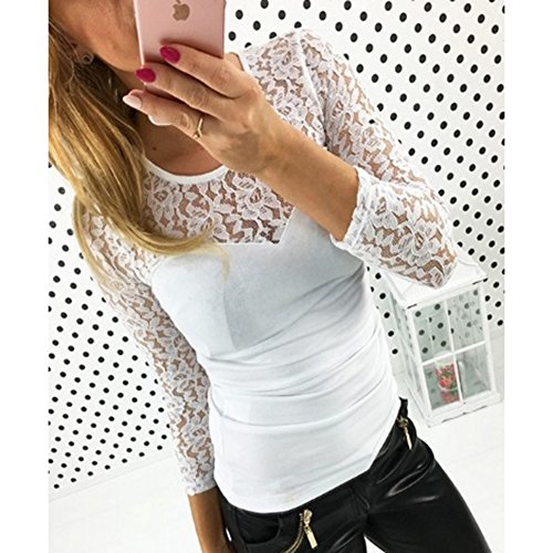 Hibote Femmes Sexy Col Rond Manches Longues Tops Dentelle Coutures Pulls Chemise Décontractée Blouses Pull Blanc