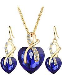 Guirui Jewelry Elegante Mujeres Corazón Conjunto de Joyas - Hermosa Cristal de Circón Pendientes Collar Conjunto de Joyas