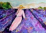 "Sibylle Rettenmaier "" LAVANDE "" Original Kunst – Leinwandbild - handgemaltes Unikat in Acryl – Moderne Kunst – Wandbild – Lavendelfeld 140 x 100 cm"