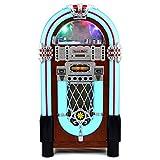 Monstershop Jukebox Retro 50er Jahre Musikbox USB-SD-Slot, AUX, MP3 Player CD-Player Bluetooth-Verbindung Radio Holz-Gehäuse mit LED-Beleuchtung Fernbedienung Maße 105cm Höhe x 57cm Breite x 30cm Tiefe