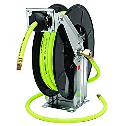 Flexzilla Retractable Open Face Dual Arm Air Hose Reel, 12 In. X 50 Ft., Heavy Duty, Lightweight, Hybrid, Zillagreen - L8741fz