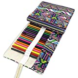 Colored Canvas Roll Up Pencils Wrap 48 Pencils Holder For Gen Pens Colored Pencils Set (48 Slots Pencil Wrap)