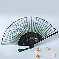 Daeou Una sonrisa ventilador señora plegable japonés plegable ventilador estilo chino regalo dama ventilador plegable