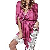 Amphia - Bademantel mit Spitze zum Nähen, Dessous Frauen Seide Spitze Robe Kleid Babydoll Nachthemd Nachthemd Nachtwäsche(Hot Pink,L)