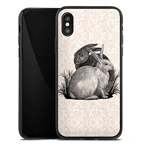 Apple iPhone X Silikon Hülle Case Schutzhülle Hase Häschen Hasen Silikon Case schwarz