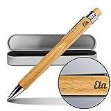 Kugelschreiber mit Namen Ela - Gravierter Holz-Kugelschreiber inkl. Metall-Geschenkdose