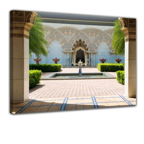 Kunstdruck - marokkanische Architektur - Putrajaya Malaysia - Bild auf Leinwand - 80x60 cm - Leinwandbilder - Städte & Kulturen - Asien - Kultur - Botanischer Garten - Riad - Innenhof