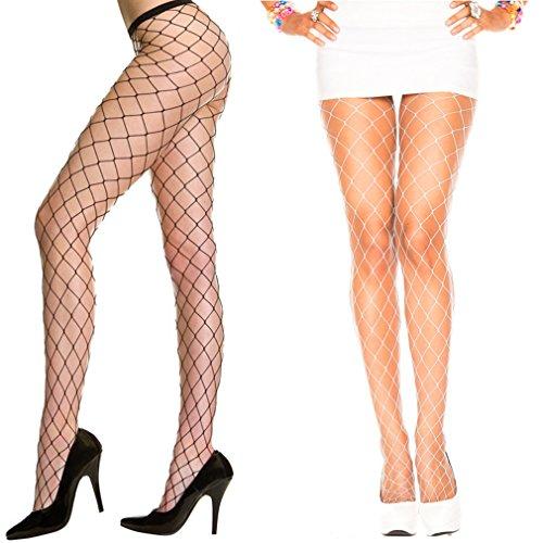 Ypser Damen Netzstrumpfhose Wchwarz und Weiß