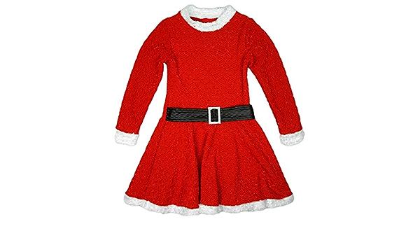 Girls Glitter Shimmer Santa Elf Christmas XMAS Skater Dress With Belt 2-13 Years