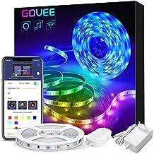 Govee Smart WiFi Bande LED 5M Avec Alexa et Google Home, Ruban LED RGB 5050 SMD 12V 1.5A Contrôlé Par APP Multi-couleurs Musique Pour iOS et Android, Décoration Pour Maison, Cuisine, Soirée