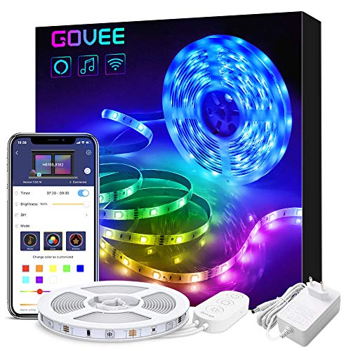 Govee Alexa LED Strip Lichtband, 5M RGB Smart WiFi LED Streifen,APP Steuerbar Musik LED Band Lichterkette für Haus, Küche, TV, Party,kompatibel mit Alexa, Google Assistant (Nicht unterstützt 5G WiFi)