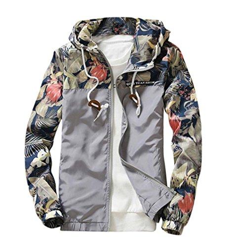 MRULIC Herren Slim Stand Collar Jackets Fashion Sweatshirt Jacket Tops Casual Coat Outwear(Grau,EU-52/CN-L) (Hinten Stand Standard)