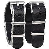 Randon Nato-Uhrenarmband, hochwertiges ballistisches Nylon mit stabiler Edelstahl-Schließe, 2er-Pack (schwarz und schwarz/grau, 20 mm)
