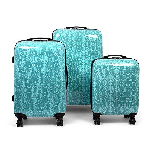 MasterGear Design Koffer 3er Set in blau (petrol) , Größe: S,M & L , Reisekoffer 4 Rollen (360 Grad) , Trolley, Kofferset, Hartschalenkoffer , ABS Koffer Hartschale mit Zahlenschloss, stapelbar