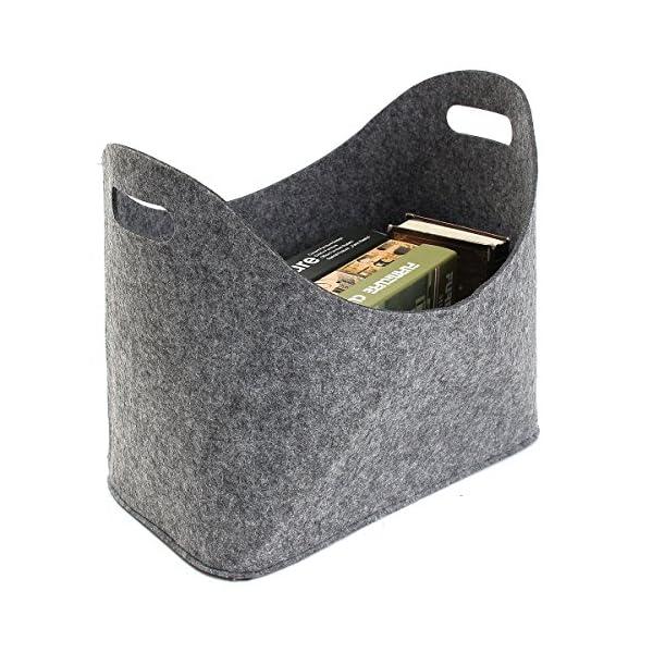 Essort Bolsa de Fieltro Reutilizable, 39x34x22cm Multiusos Plegable Chimenea Cesta de Almacenamiento con Mangos para Transportar Madera, Juguetes, Periódicos, Compras, Gris