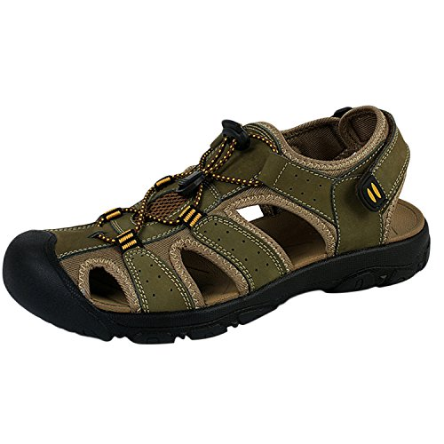 Oasap Men's Leather Closed Toe Flat Outdoor Beach Sandals Green
