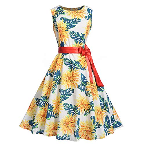 Frauen Weinlese Sleeveless O Ansatz, der Partei Abschlussball Schwingen Kleid druckt Malloom Vintage kleiderständer aus Baumwolle