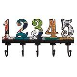 NIKKY HOME Appendiabiti da Parete con Ganci Attaccapanni a Muro per Vestito Asciugamano Cappello Vintage in Metallo e Legno 1-5 Numeri Arabi Multicolore