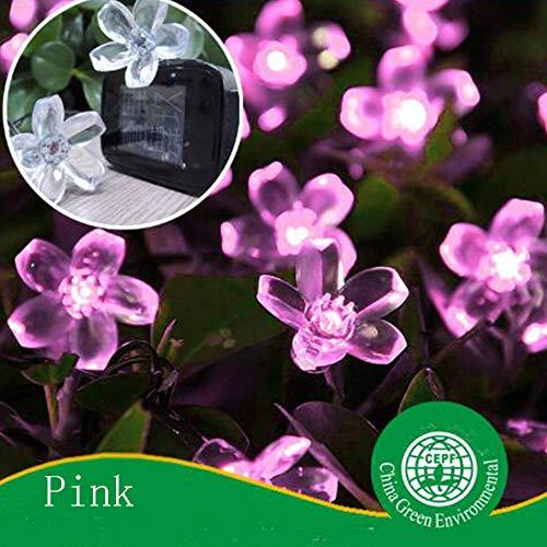 gengyouyuan Stringa di Luce Solare 50LED Fiore di ciliegio in Fiore di pesco Lanterna Decorativa da Giardino (Rosa)