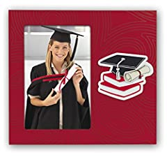Idea Regalo - ZEP Laurea Cornice portafoto, Metallo, Rosso, 20 x 18 x 1,5 cm
