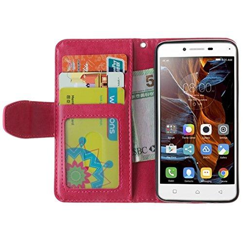 YHUISEN Geprägte Maple Leaf Design PU-Leder Flip Wallet Stand Case mit Kartensteckplatz für Lenovo K5 ( Color : Gold ) Rose
