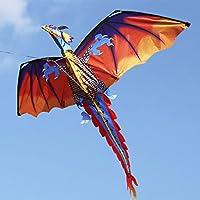 Lixada 140cm x 120cm / 55 x 47 Inch Dragon Kite Single Line Flying Kite with Tail 100m Flying Line for Kids Adults