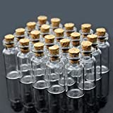 Bluelans® 20 Stk. Mini Glasfläschchen mit Korkverschluss / kleine Glasflaschen / Mini Flasche / Mini Fläschchen mit Korken 23x13 mm