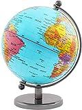 Brubaker - Globe terrestre - Design Moderne - Acier Inoxydable - Décoration Bureau - Hauteur 19 cm - Bleu Clair