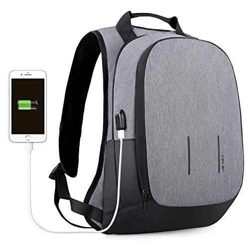 JSVER 15,6 Zoll Laptop Rucksack mit USB Port Anti Diebstahl Schulrucksack für MacBook Pro 15 oder andere Laptop/Notebook bis 15,6 Zoll, Spritzwasserfest